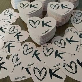 1000 Tag Etiquetas Roupa Personalizada 7x8cm - Coração