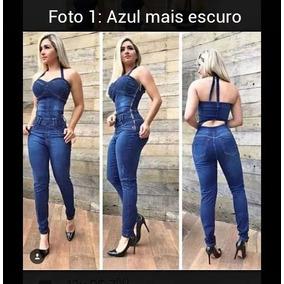 Macacão Jeans Feminino Modelos Flare E Normal. P M G