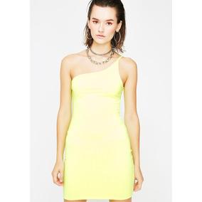 Básico Y Vital Mini Vestido Diosa Total Amarillo Neón -7009