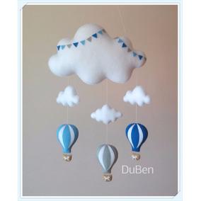 Nuvem De Feltro Com Nuvens E Balões Azul