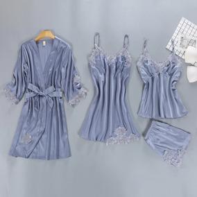 Conjunto Pijama De Cetim 4 Peças Camisola, Baby Doll, Robe