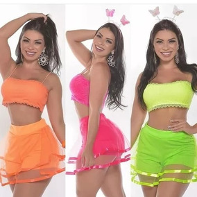 Kit 3 Short Saia +cropped Renda Neon Carnaval Feminino