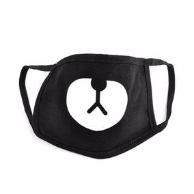 Cubrebocas Negro Con Diseño De Osito Kawaii Para Otakus