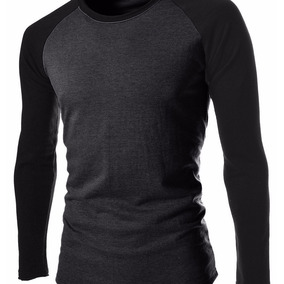 Camiseta Raglan Manga Longa Blusas Masculino Roupas Algodão