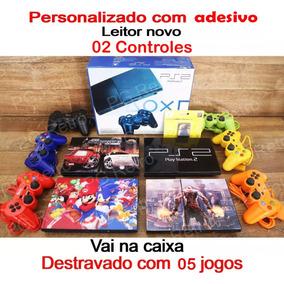 Play2 + 2 Controles + 05 Jogos + Memory Card + Adesivo