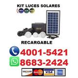 Lámpara Emergencia, Kit Solar Recargable, Foco, Linterna.
