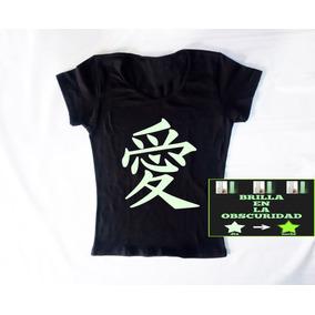 Playera Negra Kanji Japones Amor Love Japon Fotoluminiscente 2be89e15f38c5