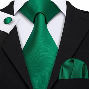 B5115 Seda | Corbata Pañuelo Mancuernillas - Verde Bandera