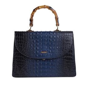 Bolsa Grande De Mão Azul Croco Mondaine