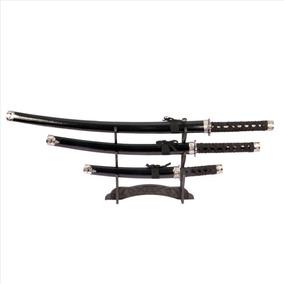 Kit Com 3 Espada Katana Samurai Ninja Preta Decorativa