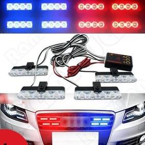 Kit Strobe Police Car 4 X 4 Leds Vermelho E Azul C/ Controle