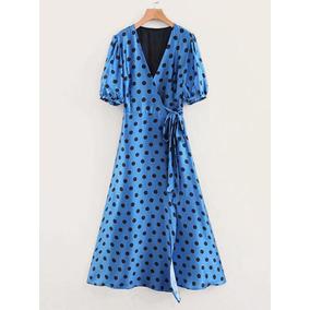 Maxi Vestido Cruzado Envolvente Azul Lunares Tipo Zara