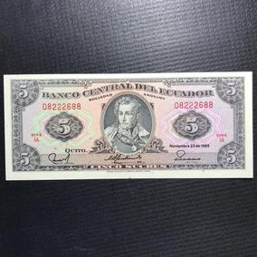 Cédula Equador 5 Sucres Ano 1988 Fe