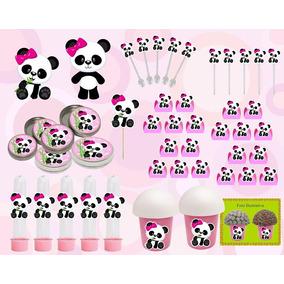 Kit Festa Infantil Panda Menina 99 Peças
