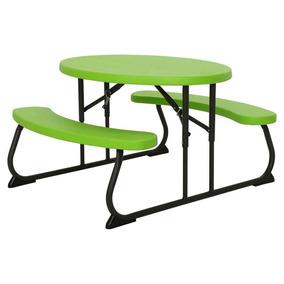 Mesa + Banco Infantil Ovalado Verde - Lifetime