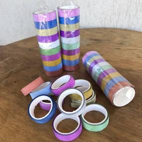 10 Fitas Washi Tape Adesivas Glitter Scrapbook Arte Durex