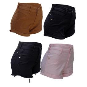 Short Jeans Feminino Cintura Lycra Cores Kit C/20 Atacado