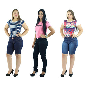 Combo 2 Bermudas Feminina Jeans + Calça Brim Preta