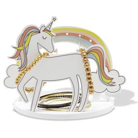Porta Joias Bijuteria Acessórios Unicornio Em Aço Com Epóxi