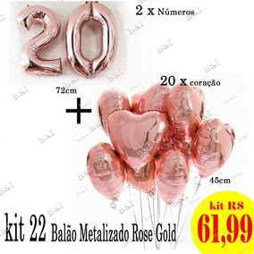 Balao Metalizado Numero 22 - Festas no Mercado Livre Brasil 8dca569fc2