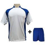 Uniforme 14 Camisas Suécia Bco roy + 14 Calções Madrid Roy 2a1eb9a8794af