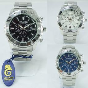 Relógios Masculino Prata Aço Atlantis Original Vermelho Azul