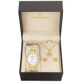 Relógio Champion Feminino Top Cn28991w Banhado + Kit Brinde