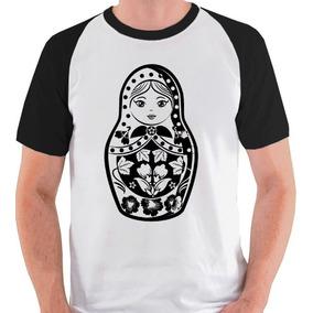 Camiseta Matrioshka Rússia Matrioska Blusa Camisa Raglan 399c666628691
