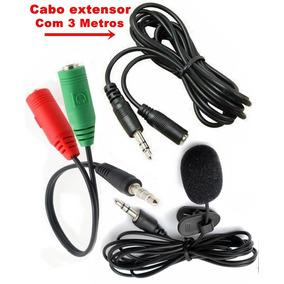 Kit Microfone De Lapela + Adaptador + Cabo Extensor Com 3mt