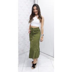 Saia Jeans Botão Frontal Midi Jeans Blogueira Roupa Feminina