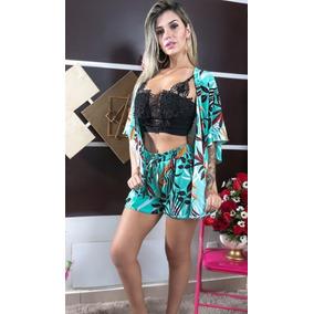 Kit Kimono + Shorts Crepe Viscose Conjunto Promoção Fashion