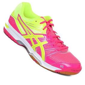 Tenis Asics Rocket 7 Rosa Amarillo 26 Voleibol Balon Mano