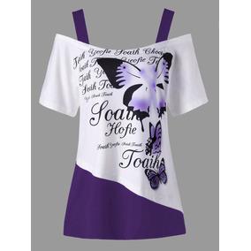 Más Tamaño Mariposa Patrón Frío Hombro T -camisa
