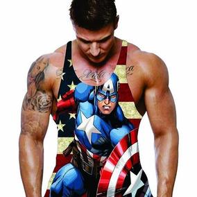 Camiseta Regata Super Cavada Para Malhar Capitão América