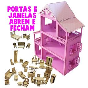 Casinha Boneca Polly +34 Móveis Pintada Rosa Branco + Nome
