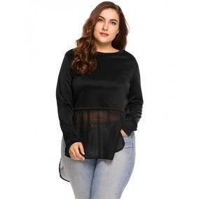 Blusa Negra De Moda Fashion De Gasa High Waist Talla Extra