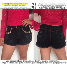 Roupas Femininas Short Jeans Lycra Rasgo Pedras Unli@ Shpm10