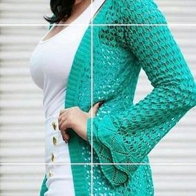 Conjunto Cropped E Cardigan Kimono Blusa Tricot Blogueiras
