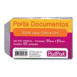 Protetor Porta Documento Aba Cnh Cpf 65x90mm Plastpark 50un