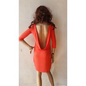Vestido Casual Naranja Con Escote En La Espalda