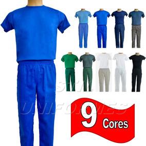 Conjunto ( Calça Brim Elástico E Camiseta) Uniforme Trabalho