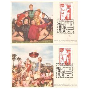 3 Cartões Postais Desfile Colégio Anglo Americano Rj, 1957.