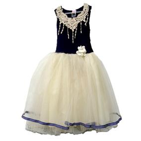 Vestido De Fiesta Niña 6 Años Marino/crema Envío Gratis