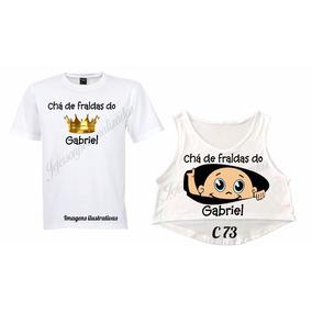b3fa5a86f Kit Camiseta Personalizada Cha De Bebe - Camisetas Manga Curta no ...