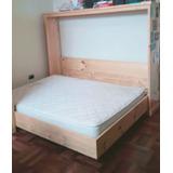 Cama Plegable De Madera + Colchón + Mueble Repisa De Madera