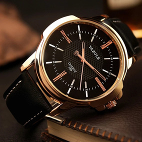 Relógio Masculino Yasole Quartz Dourado Acobreado P. Couro