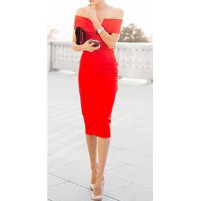 Vestidos rojos debajo de la rodilla