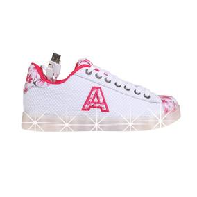 Zapatillas Addnice Moda Led Usb Flores Cordon Niña Bl/fu