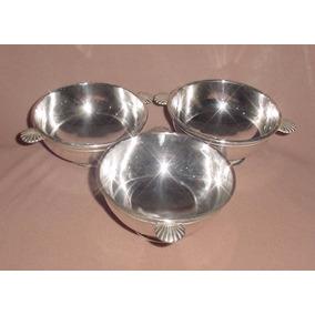 Antiguo Trio Bowls Cerealeros Tazones Consome Metal Blanco