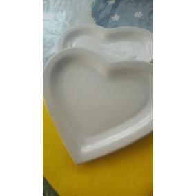 Bandejas Corazón Blancas Promo Plato Ceramica Blanca